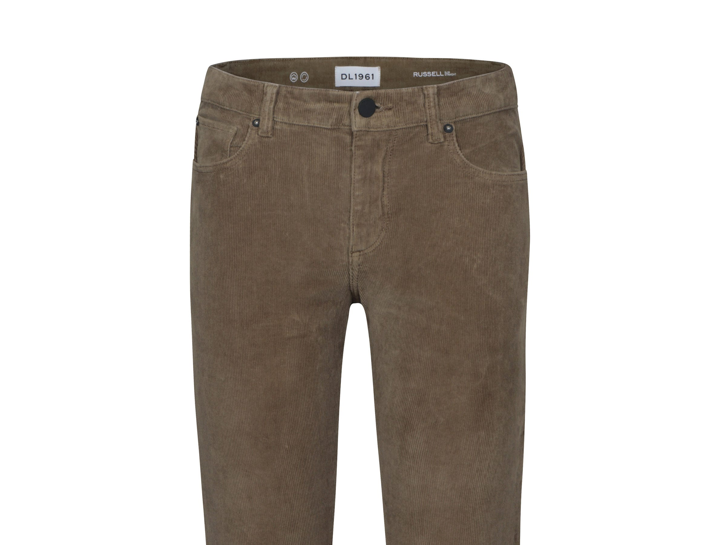 Fashion brand DL1961's Russell Slim Corduroy in Canteen, a corduroy pant for men, is priced at $188.