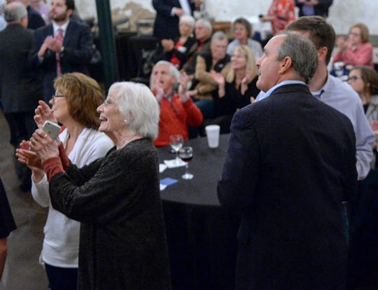 Dianne Duncan, middle, claps as her son U.S. Rep. Jeff Duncan listens to television report Associated Press projecting to win his fifth term in District 3, during election night party in Anderson on Tuesday, November 6, 2018.
