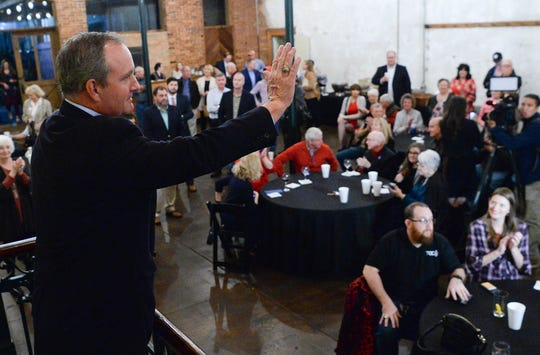U.S. Rep. Jeff Duncan thanks supporters during election night party in Anderson on Tuesday, November 6, 2018.