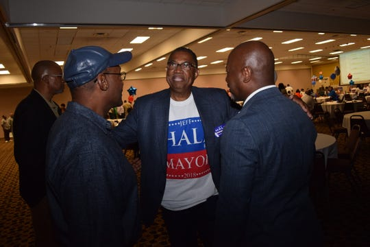 Jeff Hall (center) talks with George Burns (left) and Greg Woodley at his election watch party held Tuesday, Nov. 6, 2018 at the Louisiana Convention Center on North MacArthur Drive. Hall was elected mayor of Alexandria garnering 53 percent of the votes against mayoral candidates Catherine Davidson who garnered 11 percent and Kay Michiels who had 36 percent.