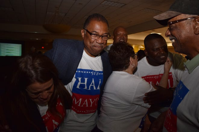 Jeff Hall celebrates his mayoral win with supporters and his wife Patricia (right) at his election watch party held Tuesday, Nov. 6, 2018 at the Louisiana Convention Center on North MacArthur Drive. Hall was elected mayor of Alexandria with 53 percent of the votes against mayoral candidates Catherine Davidson who garnered 11 percent and Kay Michiels who had 36 percent.