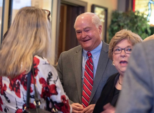 11/06/18 Independent Freeholder candidate John Curley (center)  with supporters George and Marianne Longobardi of Marlboro at Huddy's Colts Neck photo/James J. Connolly correspondent