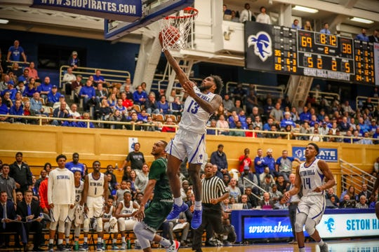 Myles Powell goes up for a layup against Wagner.