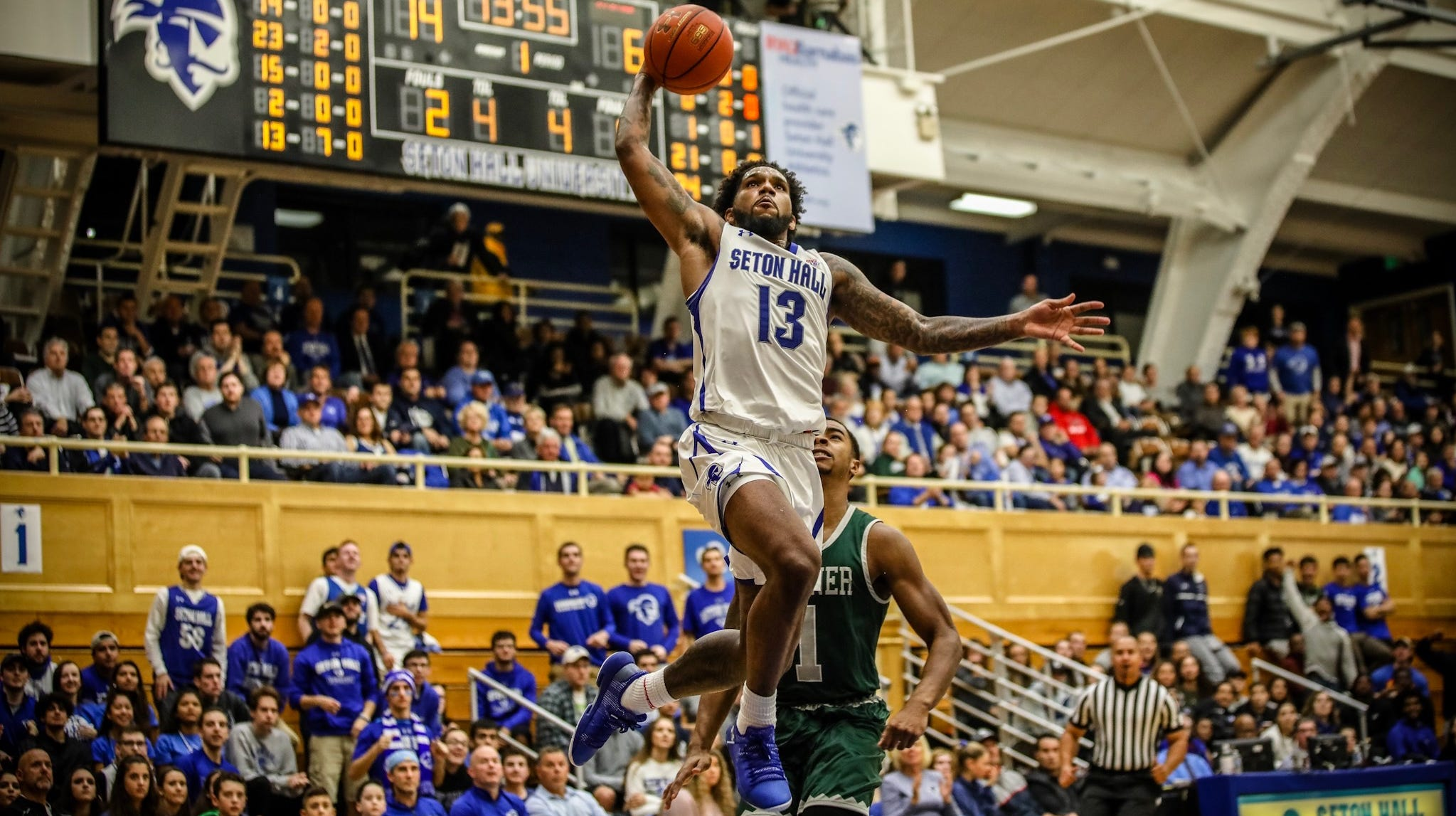 Seton Hall's Myles Powell goes up for a dunk against Wagner Tuesday.