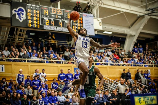 Seton Hall's Myles Powell goes up for a dunk against Wagner