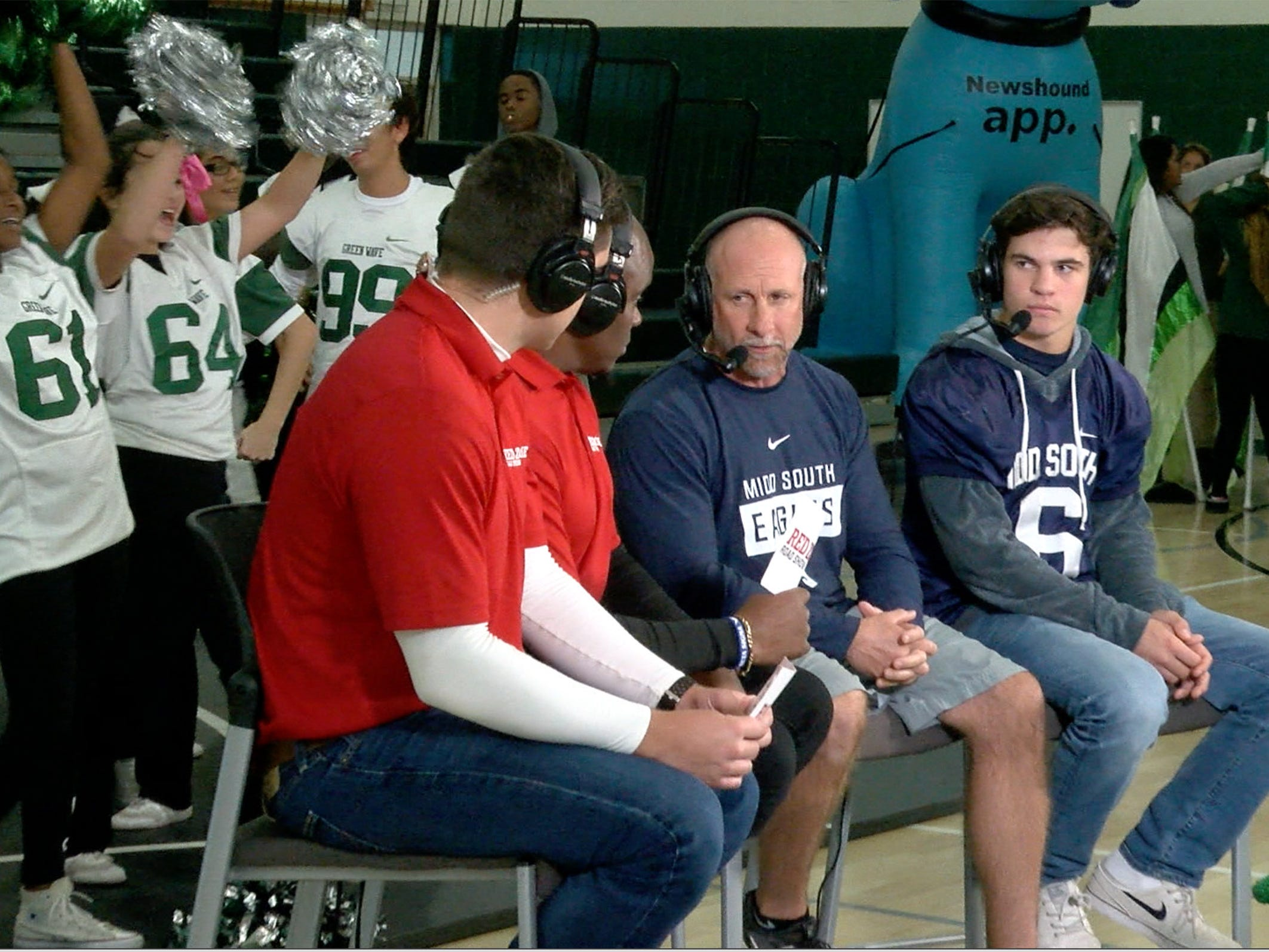 Middletown South Coach Steve Antonucci and quarterback Trevor Brey appear on the Red Zone Road show taped at Long Branch High School Monday, November 5, 2018.