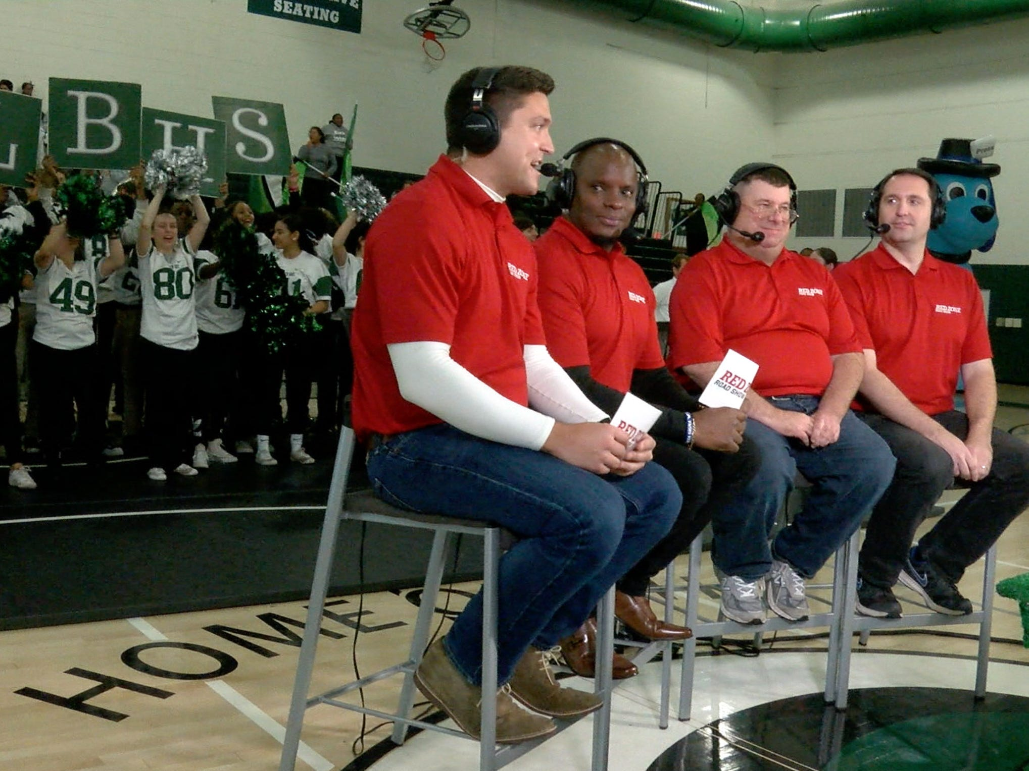 The Red Zone Road crew (l-r); Ryan Ross, Chris Melvin, Steve Falk and Greg Tartaglia; are shown during the show taping at Long Branch High School Monday, November 5, 2018.