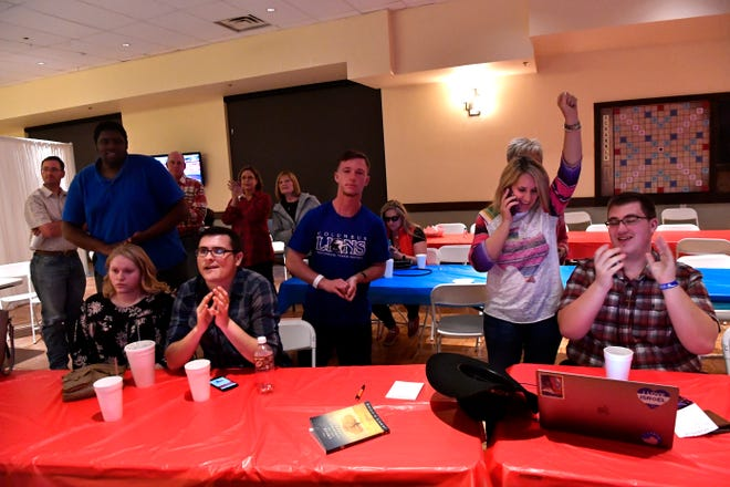 Republicans celebrate the apparent win of U.S. Sen. Ted Cruz over Democratic challenger Beto O'Rourke on Tuesday at PrimeTime Family Entertainment Center.