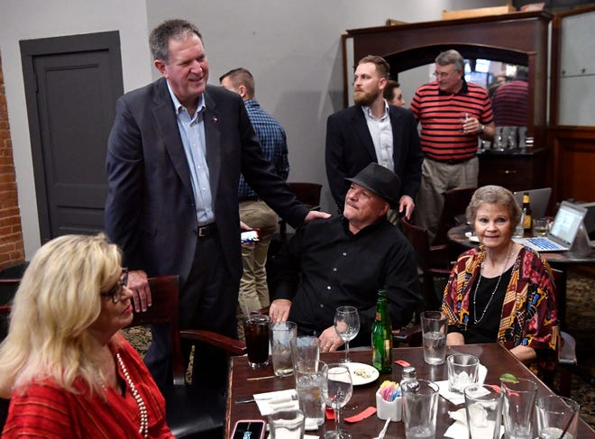 District 71 State Rep. Stan Lambert speaks with supporters at an election night party at Cypress Street Station Tuesday . The Republican was re-elected over Democrat Sam Hatton.