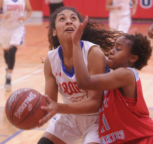Coopers' Keiana Kemp, left, drives against a Wichita Falls Hirschi defender. Hirschi won the game 51-37 on Tuesday, Nov. 6, 2018, at Cougar Gym.