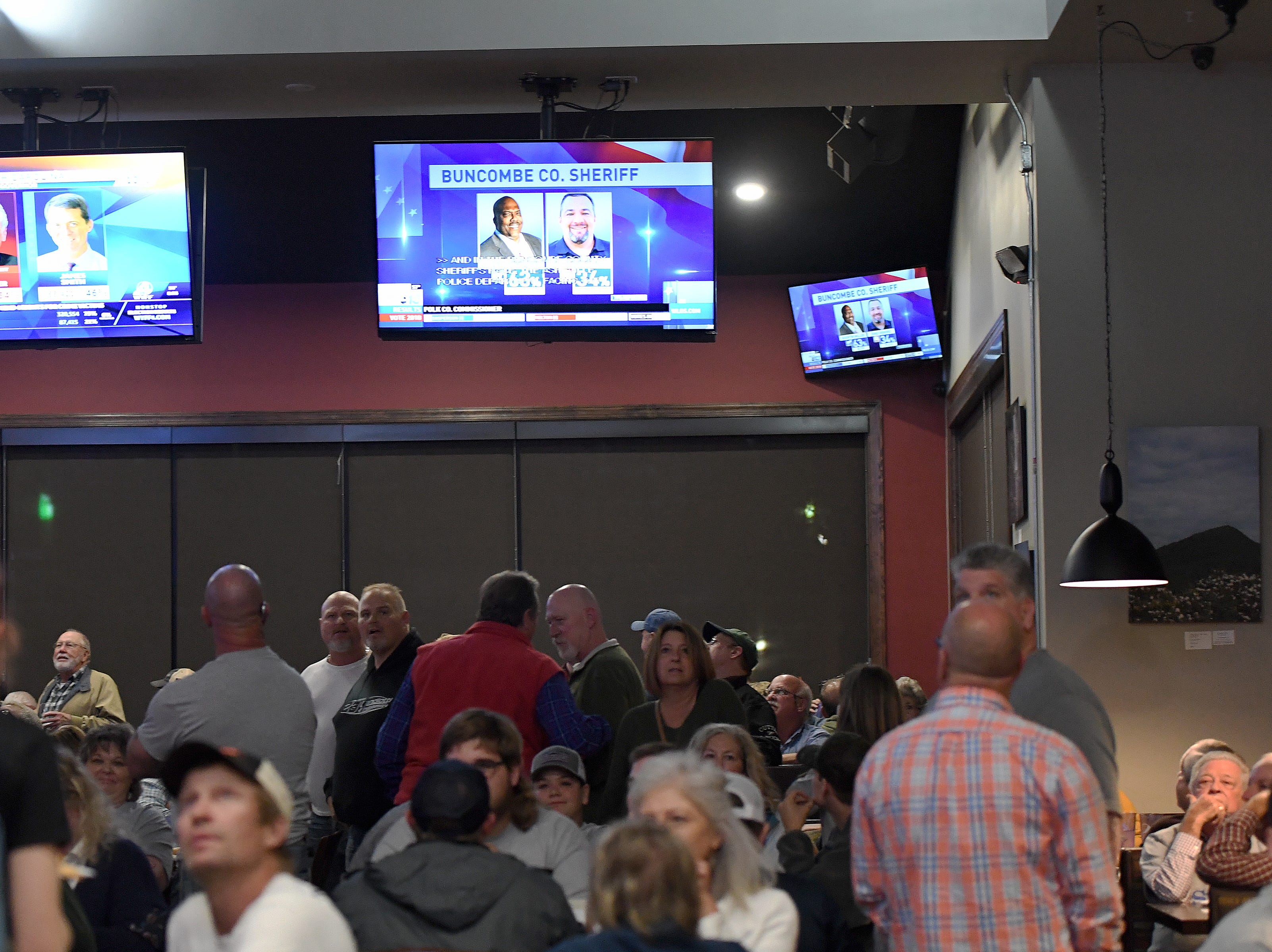 Supporters watch as election results are reported during an election results watch party for the Buncombe County Republicans at Twisted Laurel on Nov. 6, 2018.