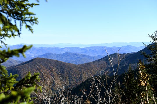 A view from the Waterrock Knob area of the Blue Ridge Parkway shows how opened up mountaintop scenery becomes in the winter when leaves have mostly fallen.