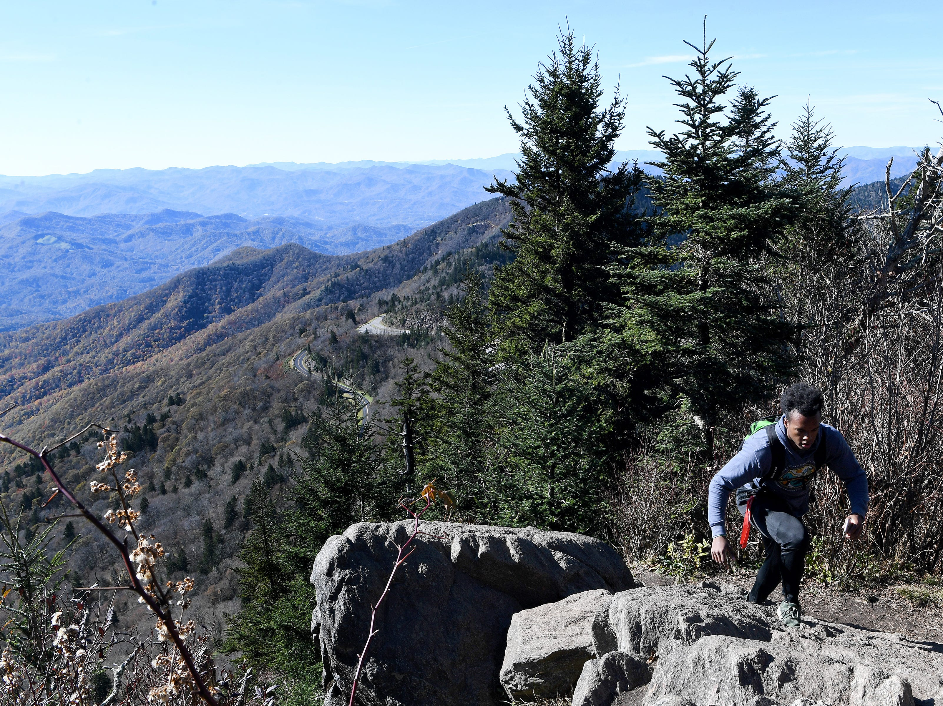 Pathways to Parks, an outdoors group that aims to get more people of color outside and into our National Parks, met for a hike at Waterrock Knob and took a detour down the unofficial Plott Balsam Trail on Oct. 30, 2018.