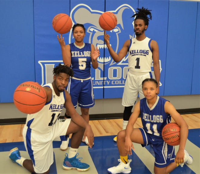 Kellogg Community College will play its first official game in its new gym with women's and men's games on Friday. Pictured, from left, Tishaun Cooper, DeeDee Post, Victor Sheffey and Destiny Kincaide.