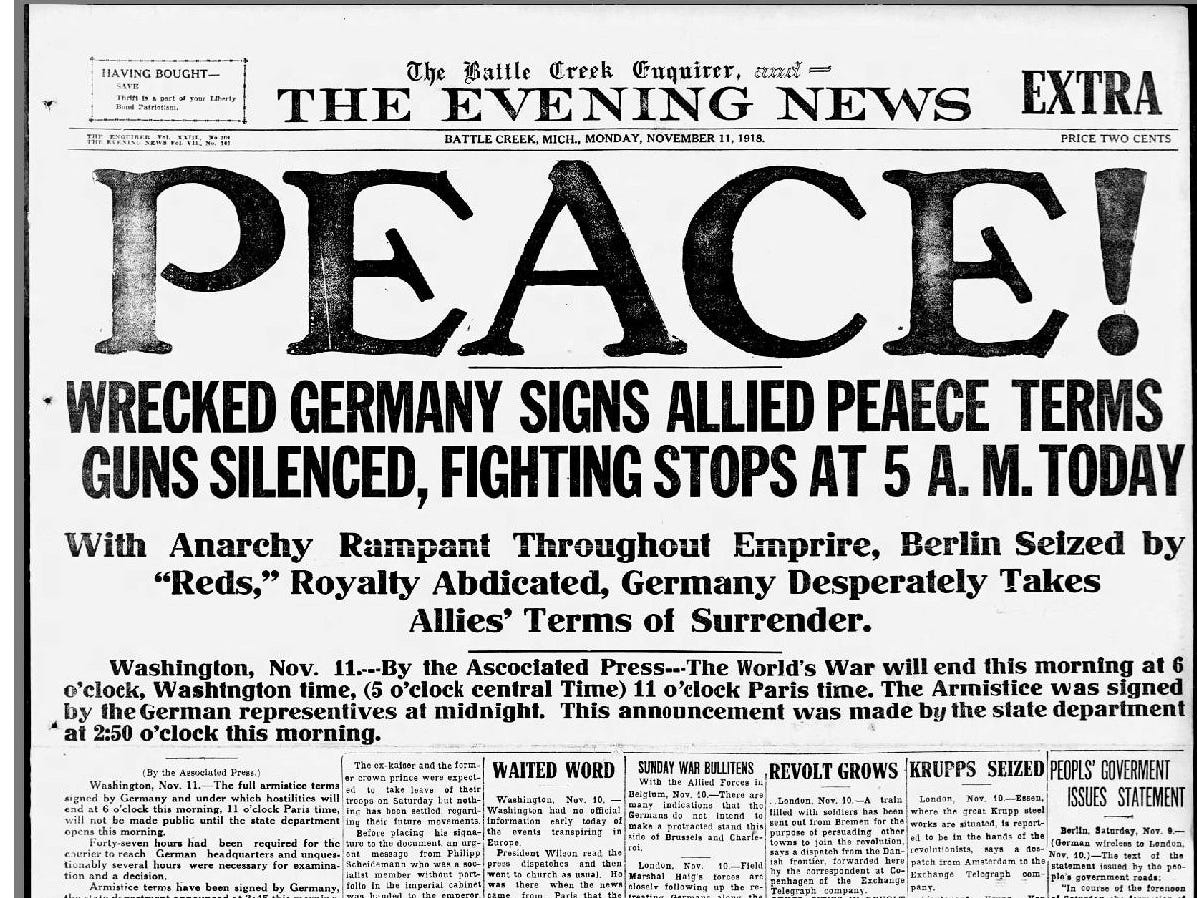The November 11, 1918 edition of the Battle Creek Enquirer Evening News.