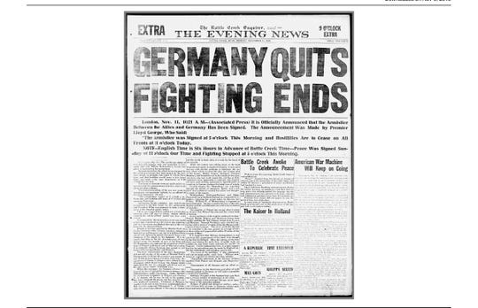 The '9 o'clock extra' edition of the Battle Creek Enquirer and the Evening News for Nov. 11, 1918 announces the end of hostilities in World War I.