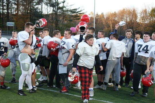 The Chenango Forks football team breaks after a huddle during a Oct. 30 practice.