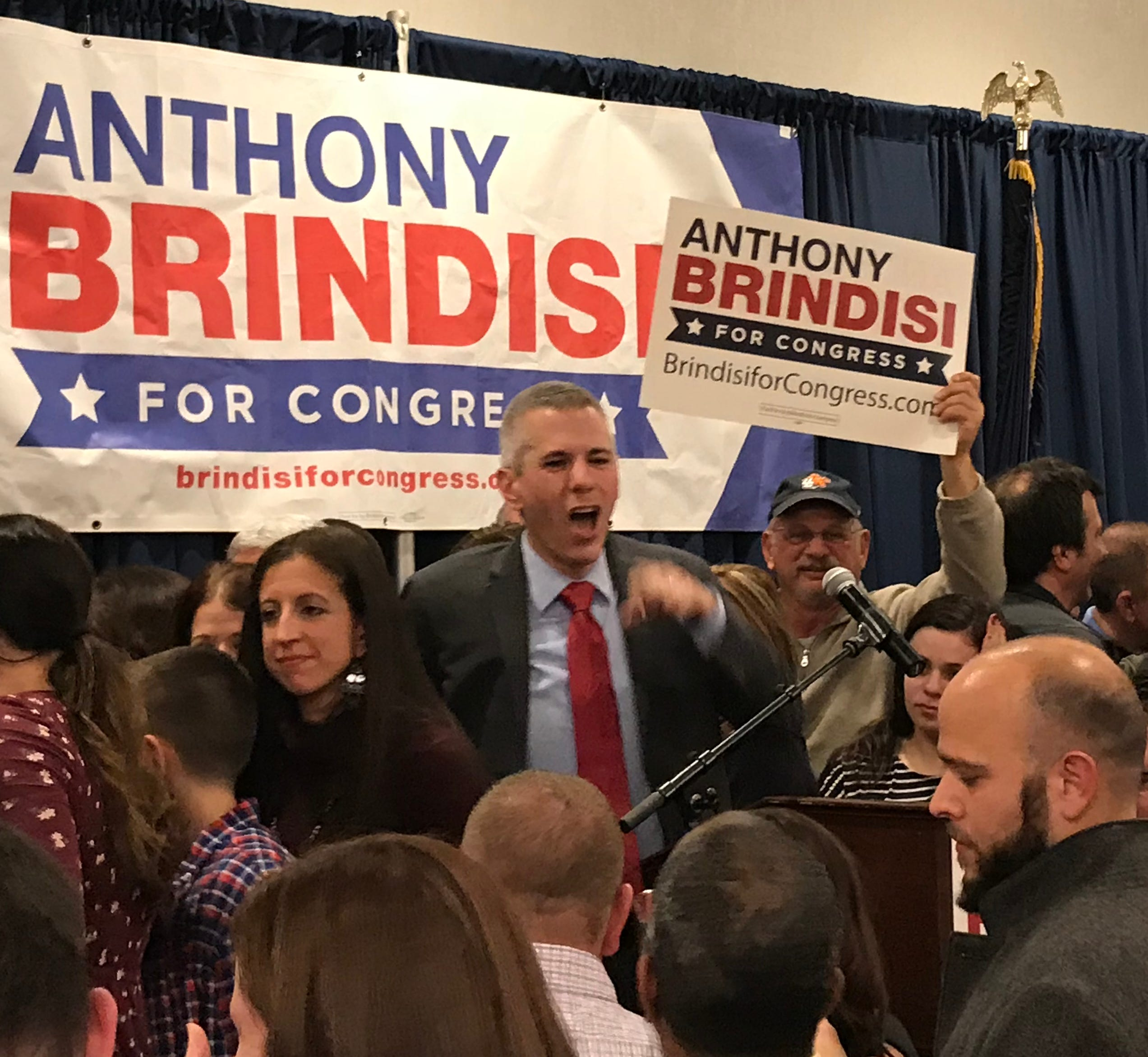 Anthony Brindisi celebrates as the votes come in Tuesday, Nov. 6, 2018 at the Delta Hotel in Utica.