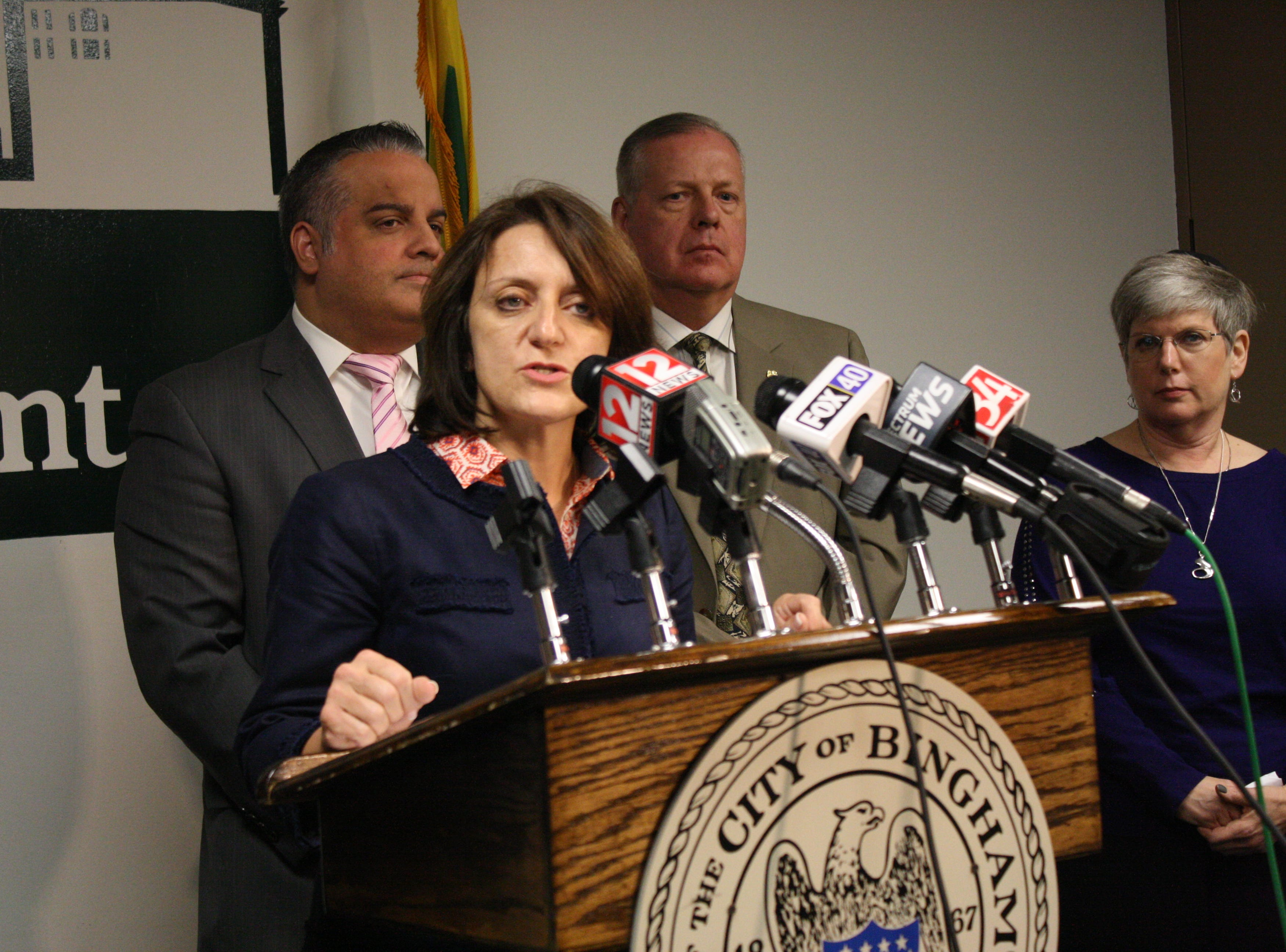 Tonia Thompson, superintendent at Binghamton City School District, speaks at a press conference Wednesday regarding swastika graffiti found around Binghamton High School Tuesday.