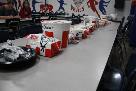 Every Tuesday, the Chenango Forks football team's offensive line eats a Kentucky Fried Chicken dinner.