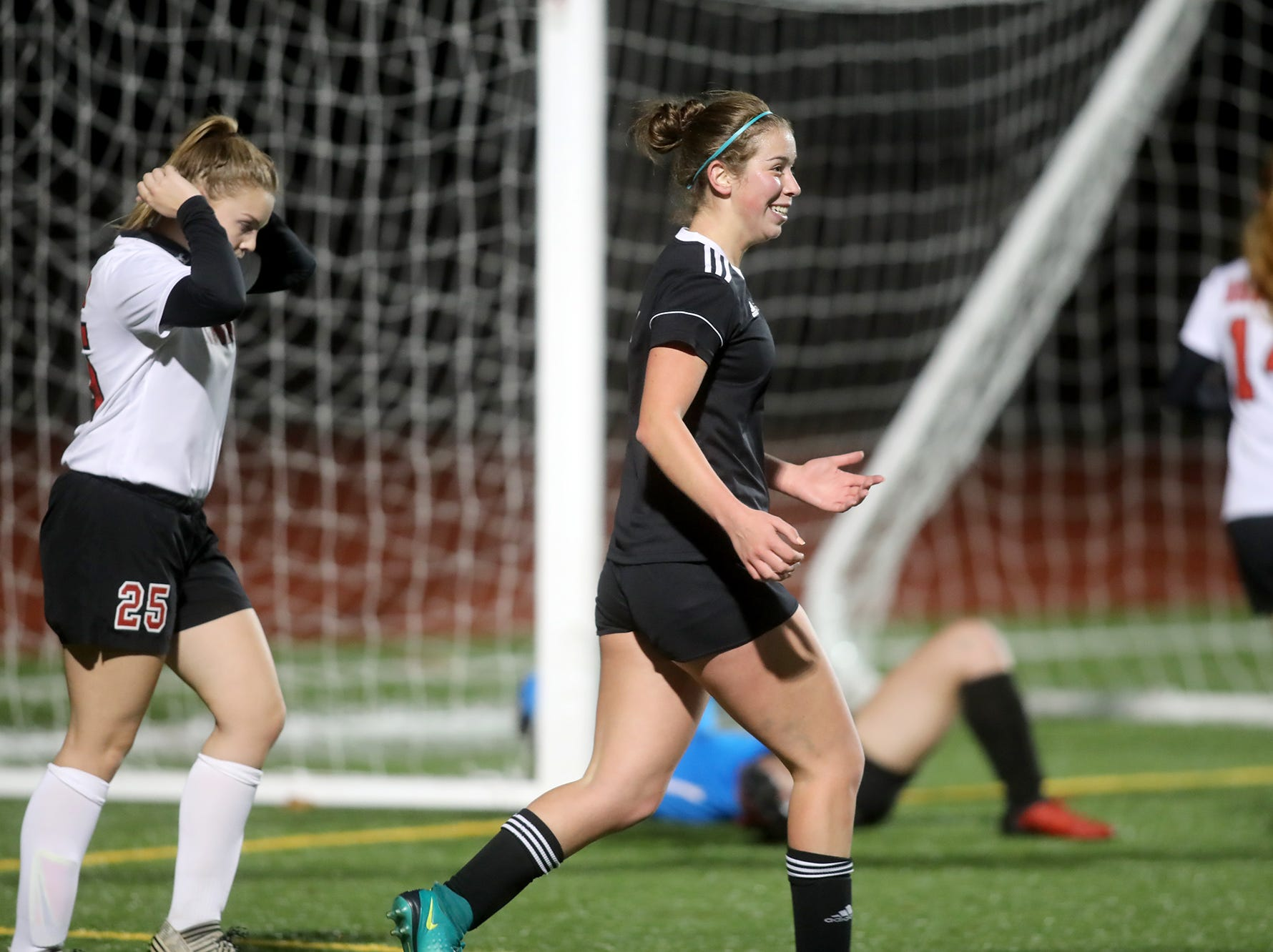 Klahowya player Hope Martin reacts after scoring a goal as the team defeated Tenino 7-0 in a state soccer game Tuesday, November 6, 2018 at Silverdale Stadium.