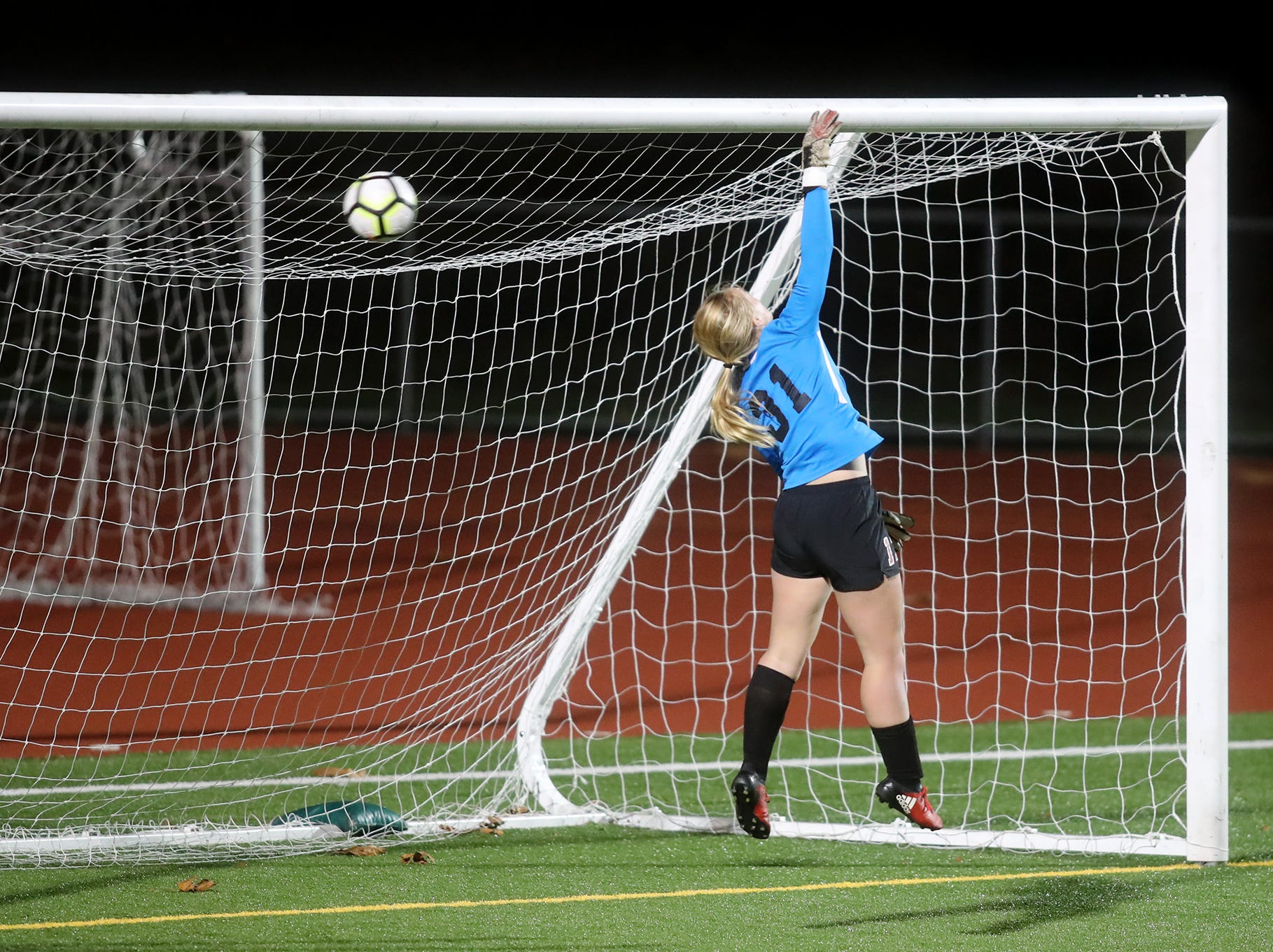 Klahowya defeated Tenino 7-0 in a state soccer game Tuesday, November 6, 2018 at Silverdale Stadium. The kick gets by Tenino goal keeper Maria Collins.