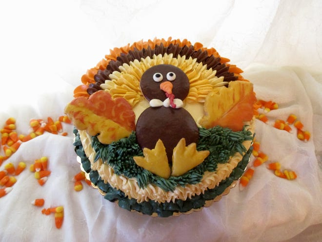 Tom Turkey takes center stage in Goodie-licious Custom Baking's Thanksgiving cake.