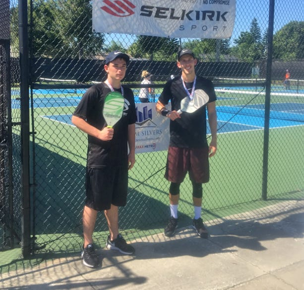 Satellite High junior Jack Foster, 17, left, is heading to Indian Wells near Palm Springs, California, this weekend to compete in the 2018 USA Pickleball National Championships.