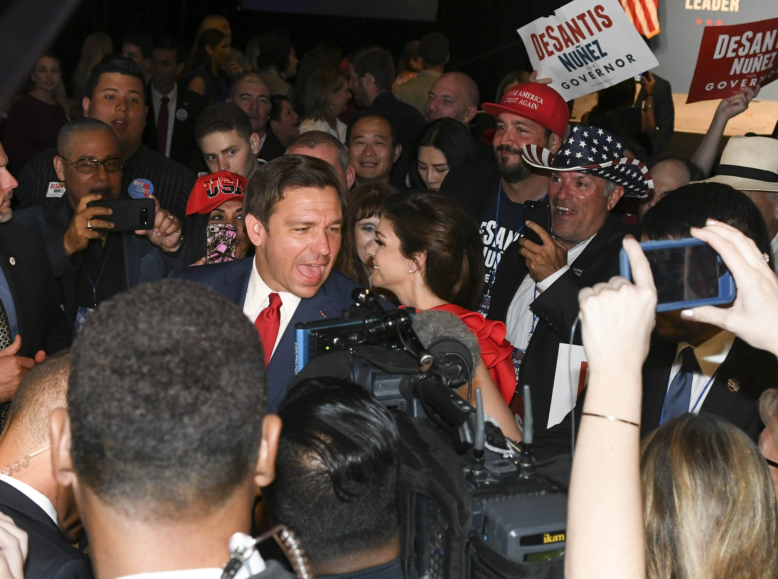 Governor-elect Ron DeSantis and his wife greets supporters after his victory Tuesday.