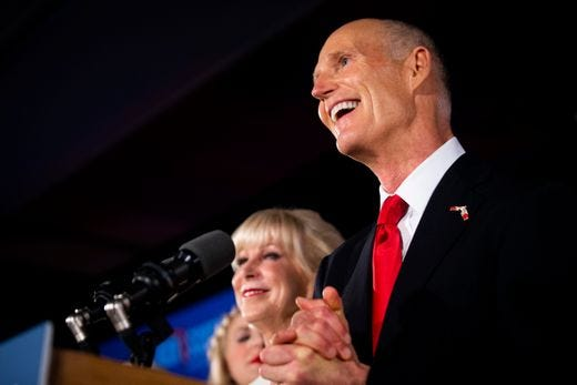 Florida Gov. Rick Scott speaks to supporters Nov. 7, 2018, at LaPlaya Beach and Golf Resort in Naples after the Republican declared that he won his race for Senate against incumbent Sen. Bill Nelson, D-Fla.