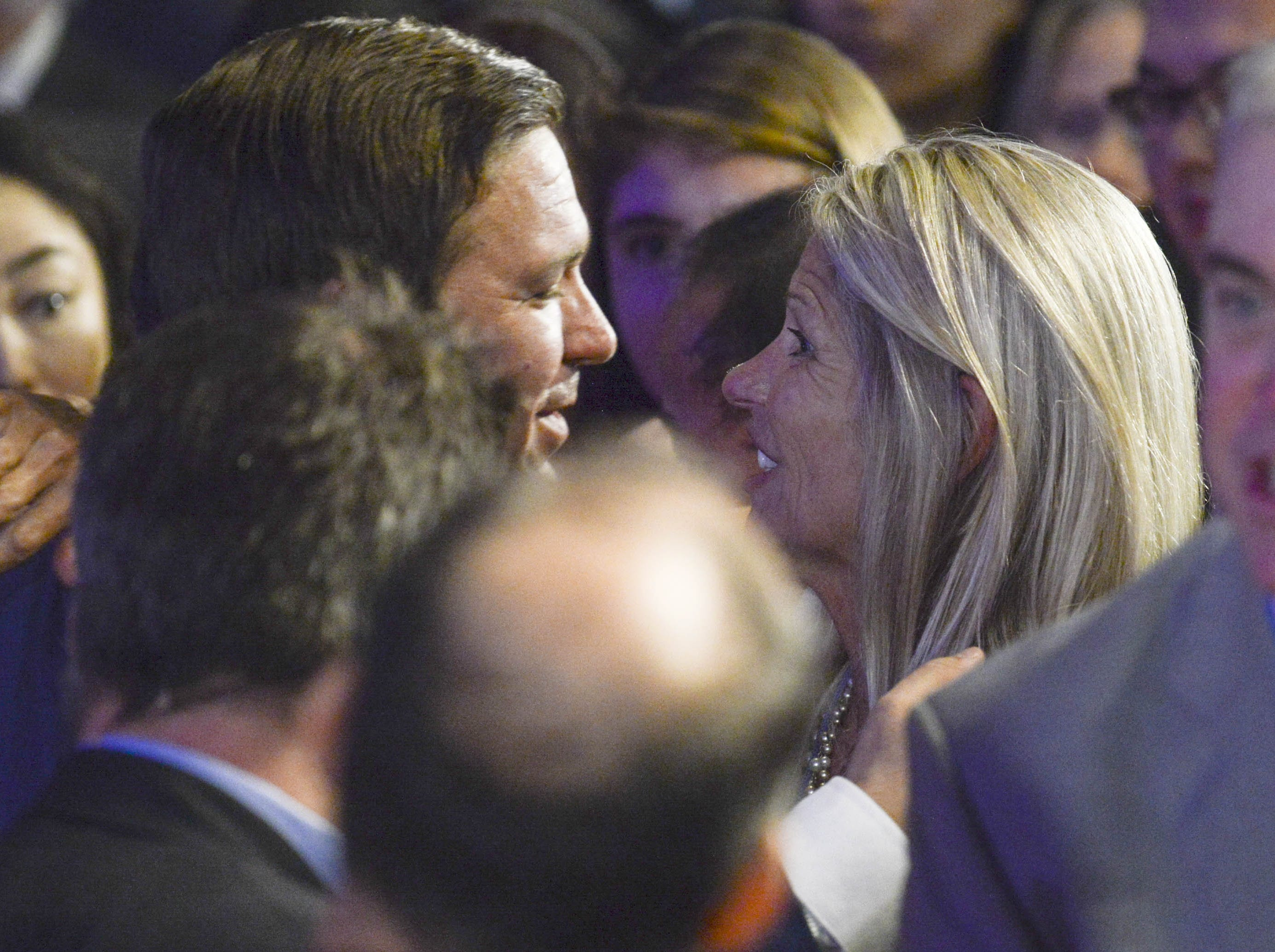 Governor-elect Ron DeSantis is congratulated by State Sen. Debbie Mayfield during his watch party Tuesday.
