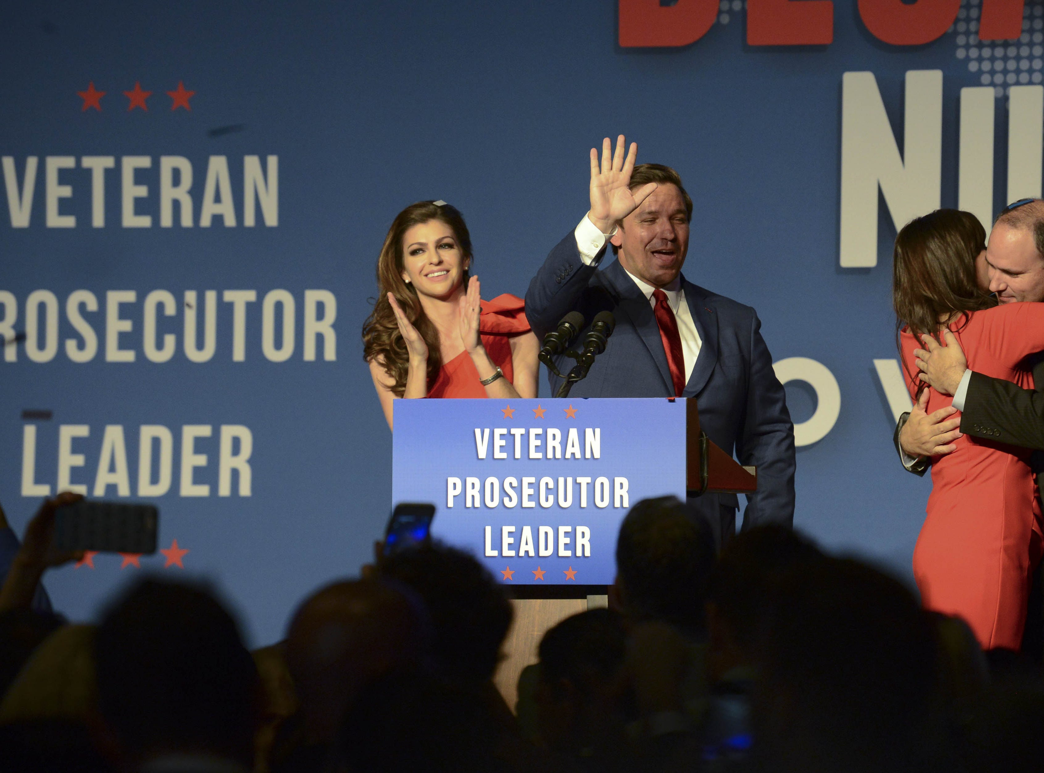 Governor-elect Ron DeSantis and his wife Casey along with Lt. Governor-elect Jeanette Nunez and her husband Adrian celebrate Tuesday evening.