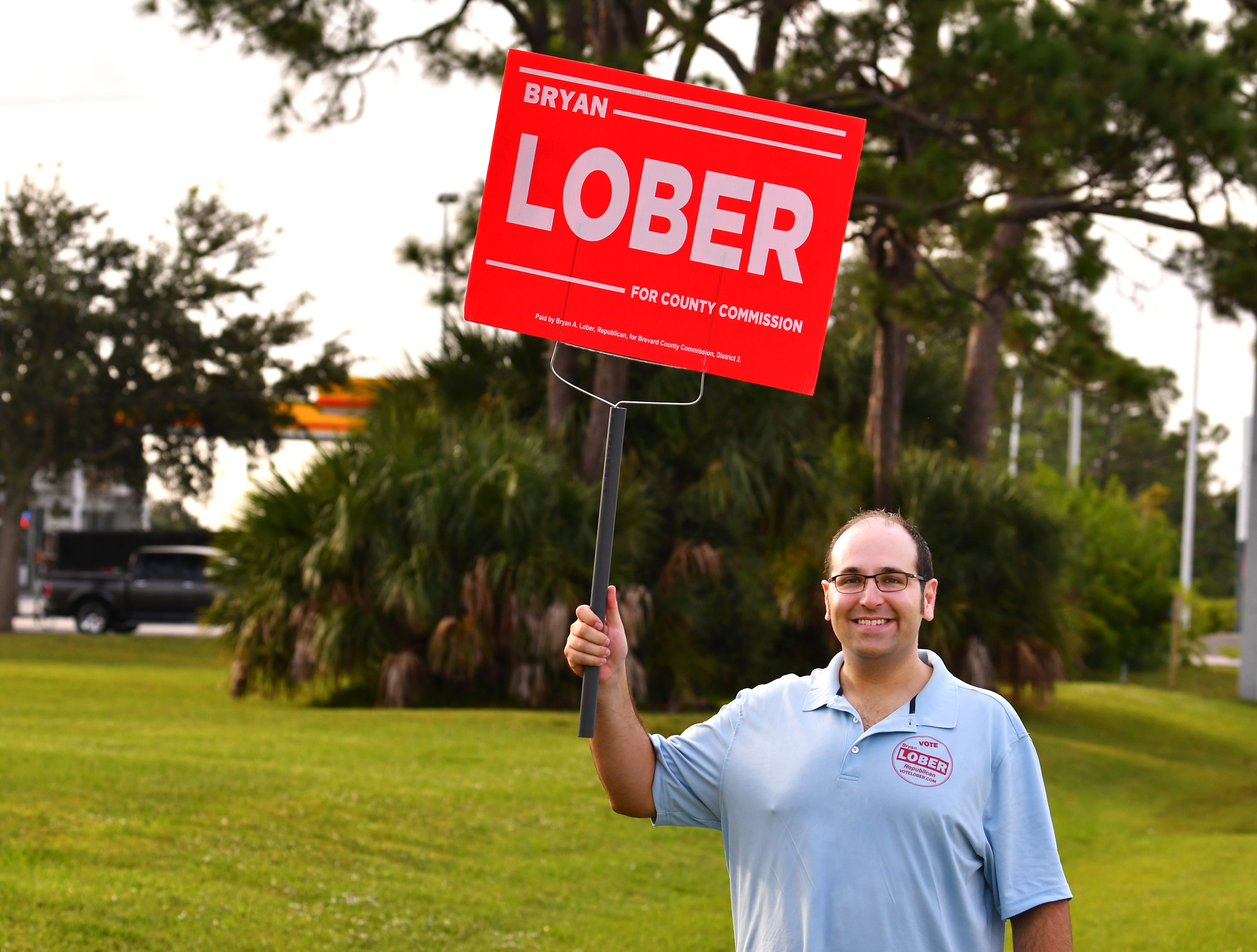 District 2 Republican County Commission candidate Bryan Lober was at the Moose Lodge on Merritt Island as the polls opened.
