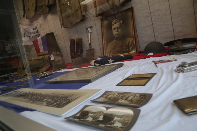 Items from World War I are on display at Lee's Comfort Shoes. The collection was put together by the Bucyrus Historical Society for Veteran's Day.