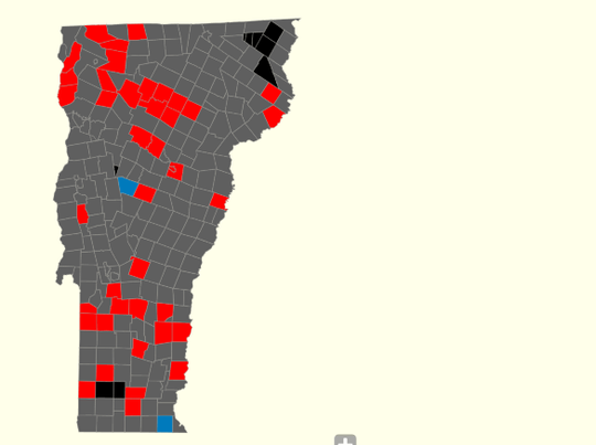 Incumbent Gov. Phil Scott holds a decisive lead over challenger Christine Hallquist at 8:30 p.m., as shown in this map of unofficial results.