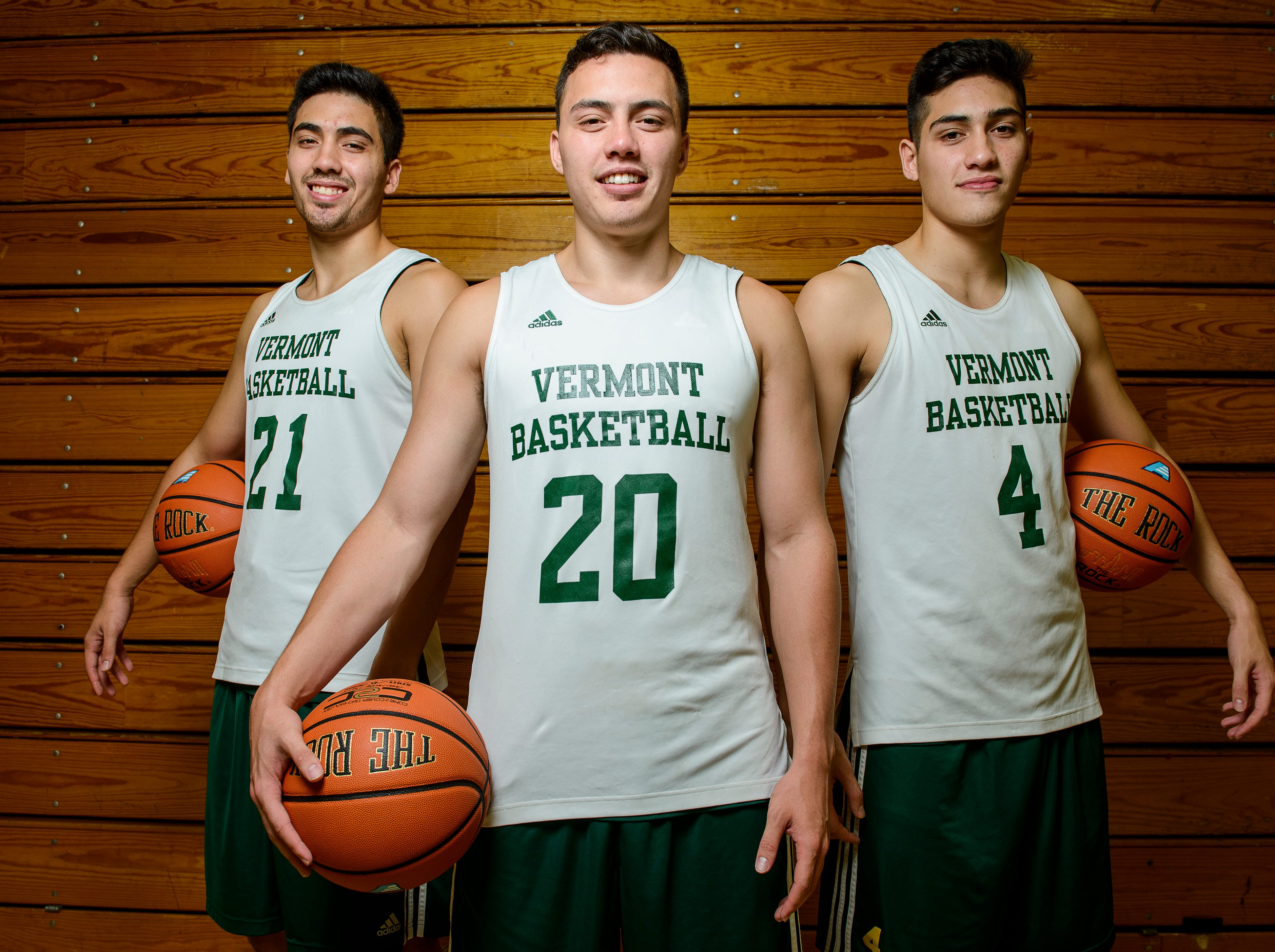 Everett Duncan, left, Ernie Duncan and Robin Duncan are poised to make the University of Vermont men's basketball team just the fourth ever in Division I to feature three brothers at the same time.
