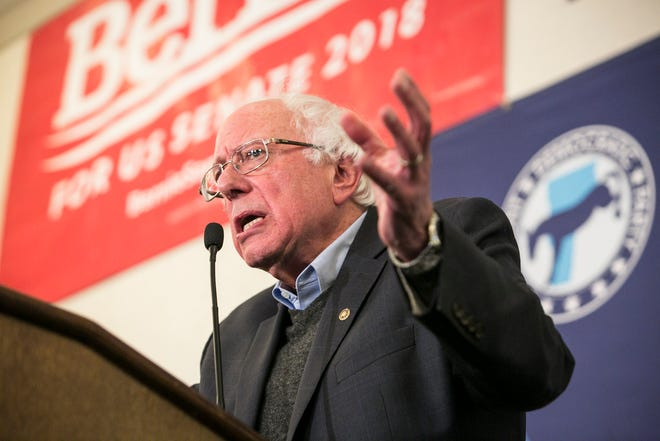After keeping his senate seat in the midterm elections, Sen. Bernie Sanders speaks at the Hilton in Burlington, Vermont on Tuesday, November 6, 2018.