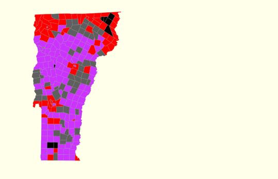 10:45 p.m.: Lt. Gov. David Zuckerman (purple) outpolls his Republican challenger, Don Turner (red).