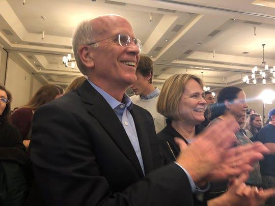 Rep. Peter Welch, D-Vt, applauds in Burlington on election night on Nov. 6, 2018