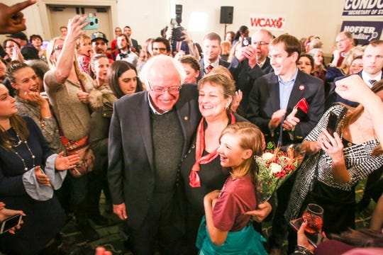 Senator Bernie Sanders celebrates his win at the Hilton Burlington on Tuesday, November 6, 2018.