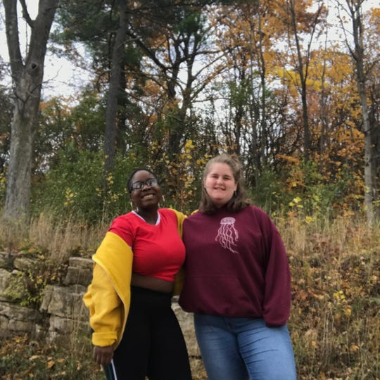 Zanevia Wilcox, left, and Ava Ingalls, both seniors at Burlington High School, seen on Nov. 7, 2018, after sharing their thoughts on the previous day's election.