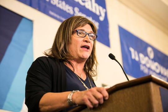 Democratic challenger Christine Hallquist concedes to incumbent Gov. Phil Scott Tuesday night at the Double Tree by Hilton in Burlington on Tuesday, November 6, 2018.