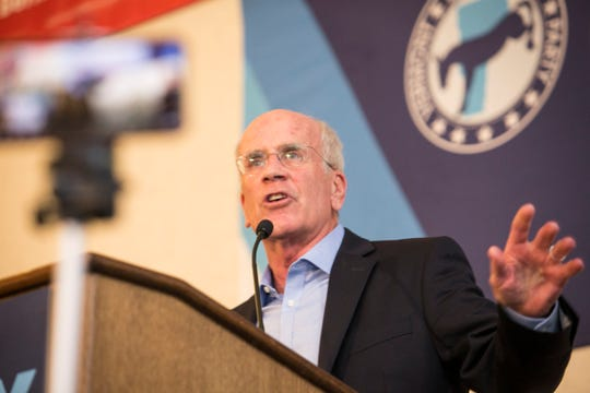 Rep. Peter Welch speaks after his midterm victory at the Hilton in Burlington, Vermont on Tuesday, November 6, 2018.