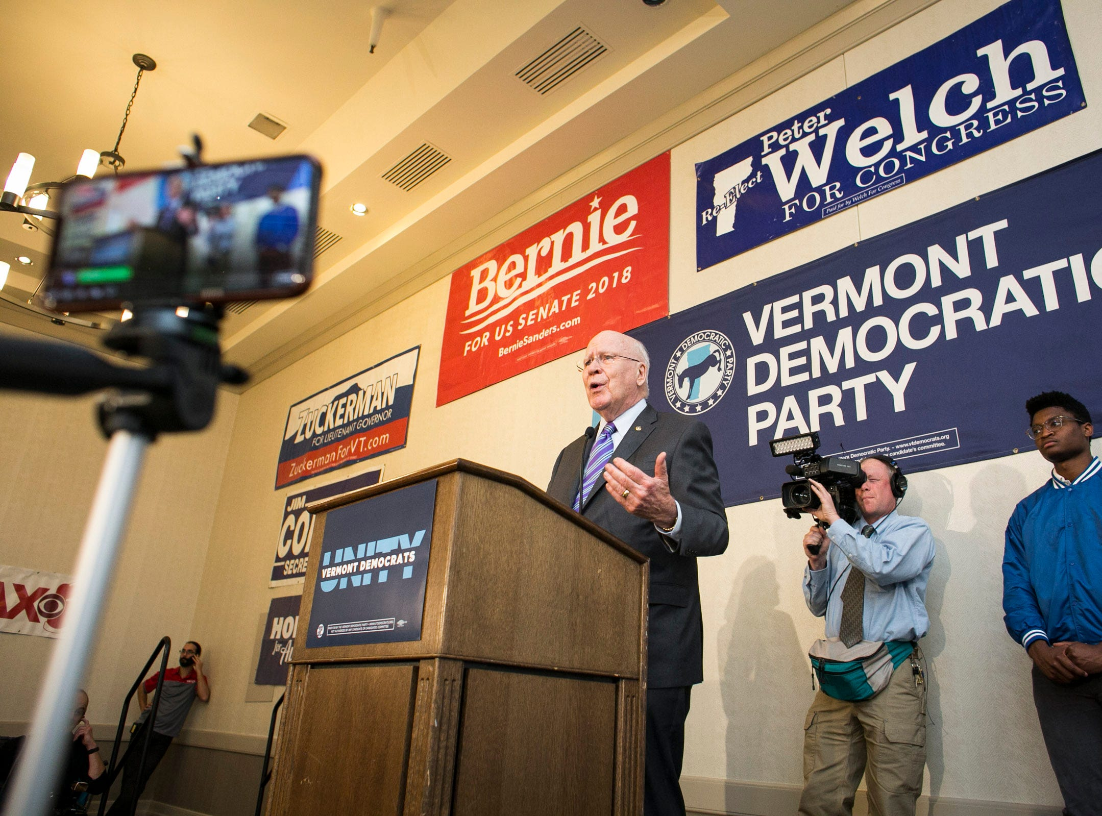 Sen. Patrick Leahy speaks after his midterm victory at the Hilton in Burlington, Vermont on Tuesday, November 6, 2018.