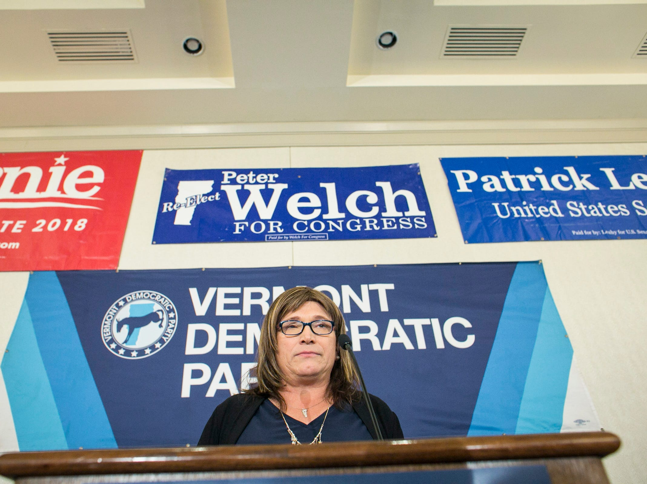 Democratic candidate for governor Christine Hallquist speaks after conceding to incumbent Gov. Phil Scott at the Hilton in Burlington, Vermont on Tuesday, November 6, 2018.