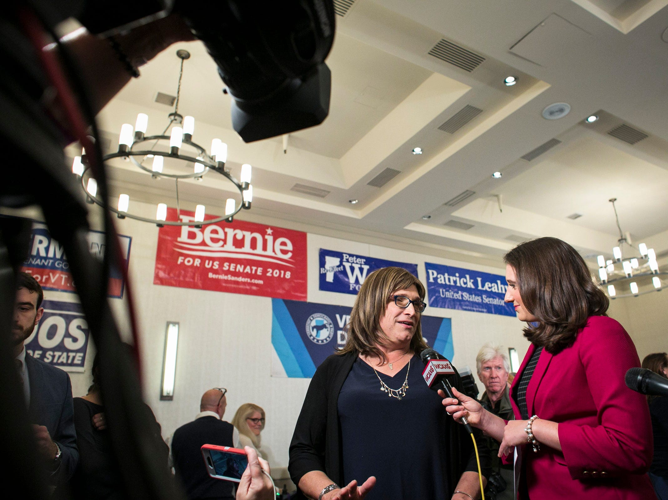 Democratic candidate for governor Christine Hallquist speaks to media at the Hilton in Burlington, Vermont on Tuesday, November 6, 2018.