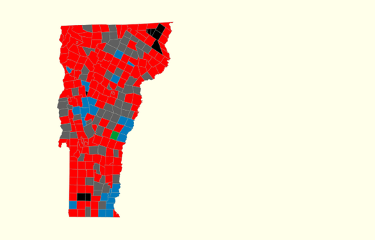 10:30 p.m. - Incumbent Gov. Phil Scott's victories (in towns marked red) and the more modest gains by his challenger, Christine Hallquist (blue).