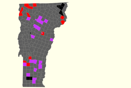Lt. Gov. hopefuls Zuckerman (purple) and Turner (red) in a tight race at 8:15 p.m.