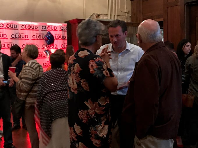 U.S. Rep. Michael Cloud talks with guests at his election night watch party on Nov. 6, 2018.