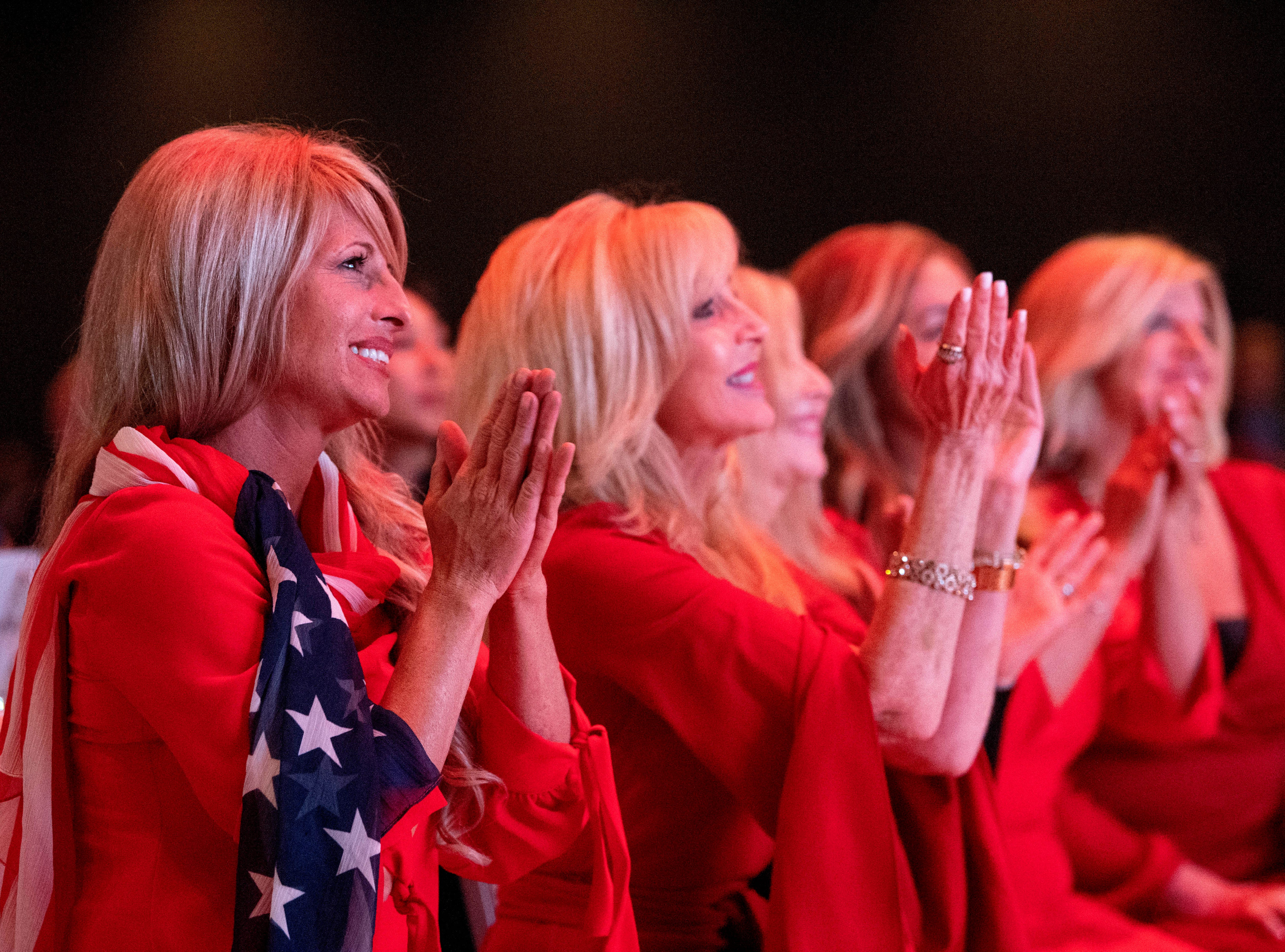 Rebecca Crabb, left, of the Trumpettes of America celebrates as incumbent U.S. Sen. Ted Cruz, R-Texas, is announced as the winner over challenger Rep. Beto O'Rourke during the Dallas County Republican Party election night watch party on Tuesday, Nov. 6, 2018 at The Statler Hotel in Dallas. (AP Photo/Jeffrey McWhorter)